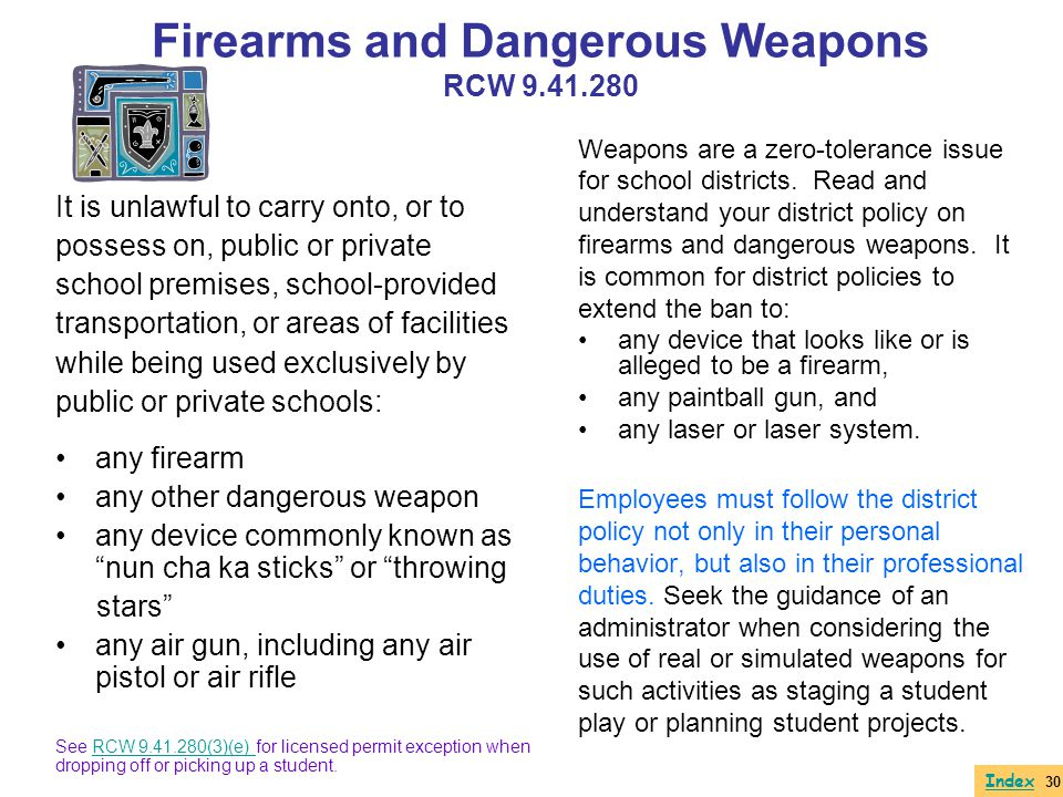 Firearms and Dangerous Weapons RCW 9.41.280