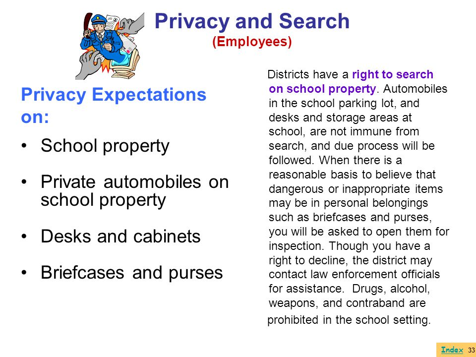 Privacy and Search Privacy Expectations on: School property