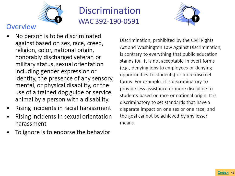 Discrimination WAC 392-190-0591 Overview