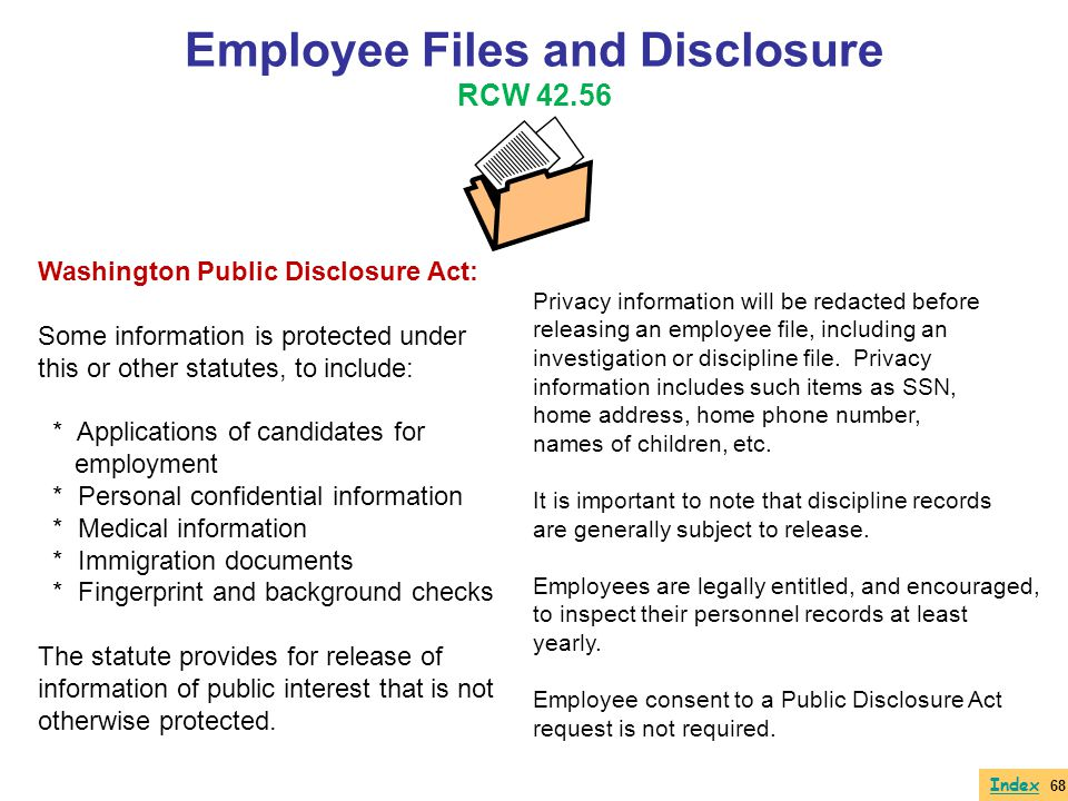 Employee Files and Disclosure RCW 42.56
