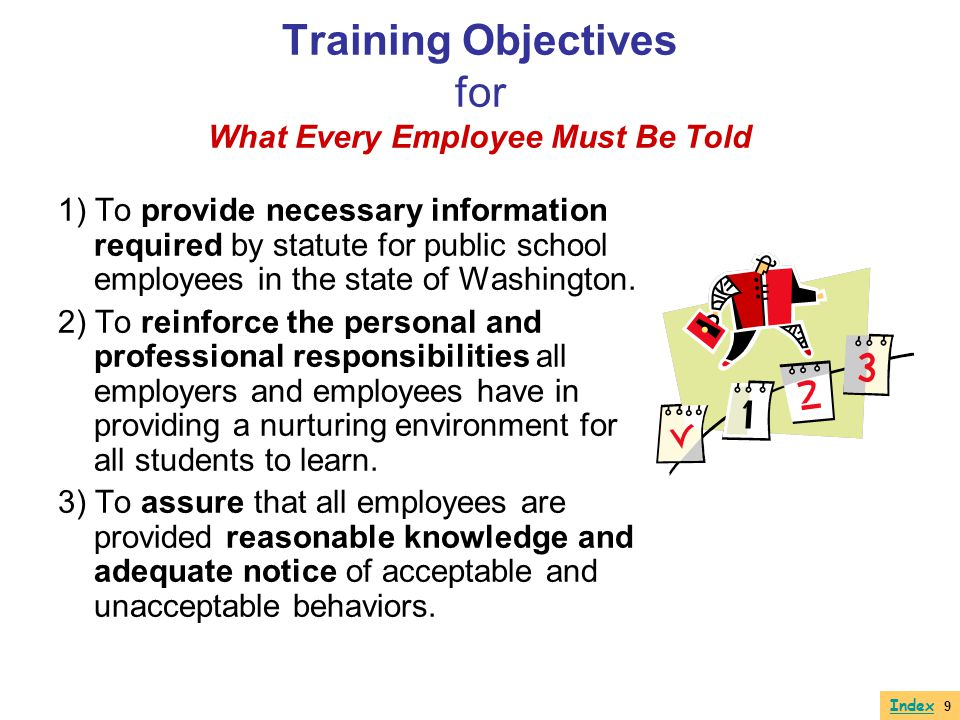 Training Objectives for What Every Employee Must Be Told