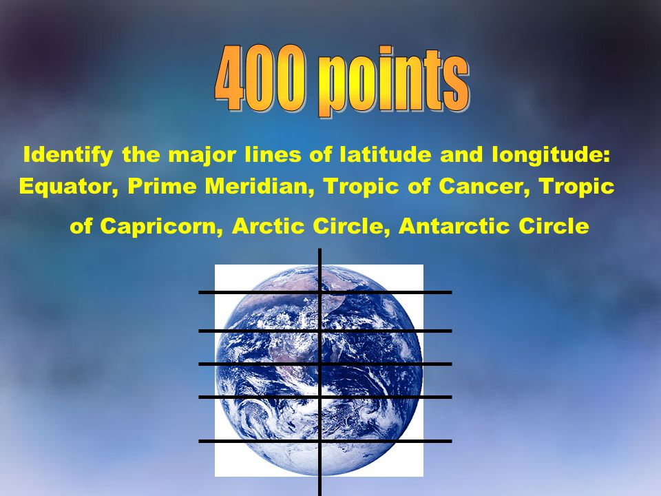 Identify the major lines of latitude and longitude: