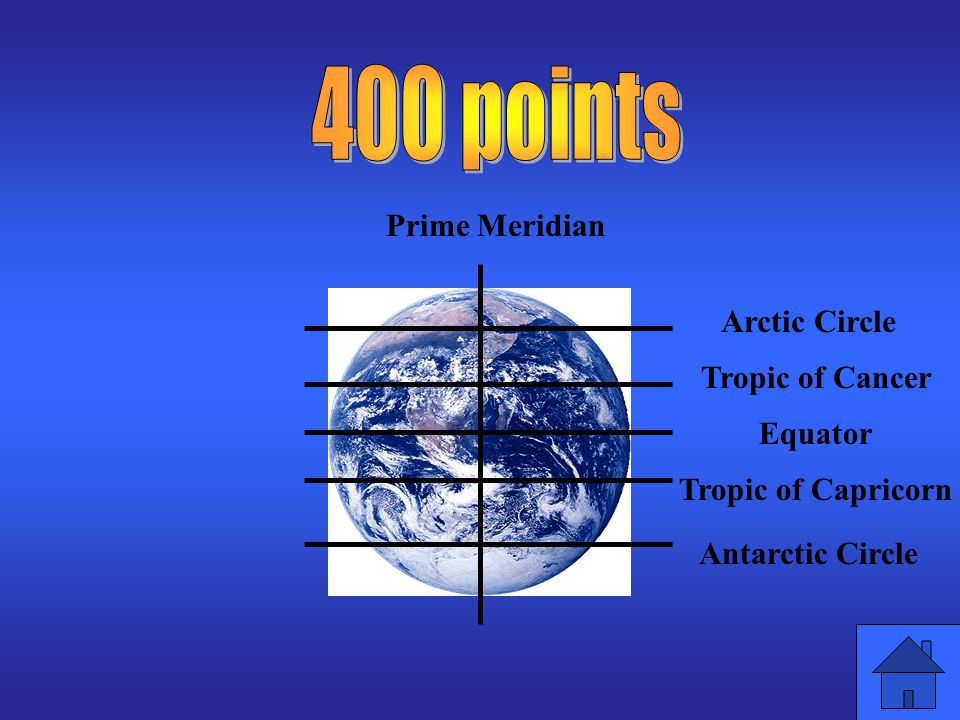 400 points Prime Meridian Arctic Circle Tropic of Cancer Equator