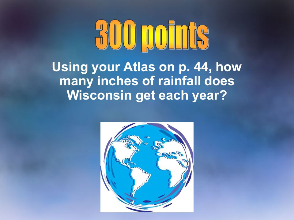 300 points Using your Atlas on p. 44, how many inches of rainfall does Wisconsin get each year