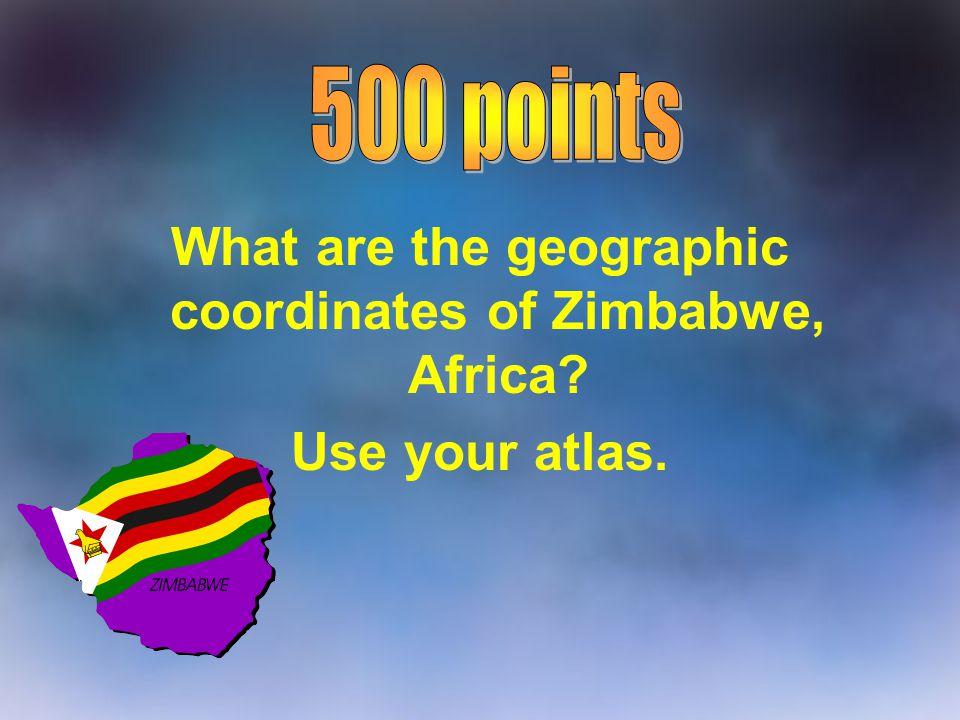 What are the geographic coordinates of Zimbabwe, Africa