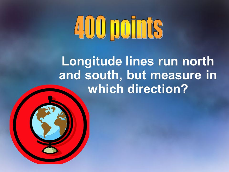 Longitude lines run north and south, but measure in which direction