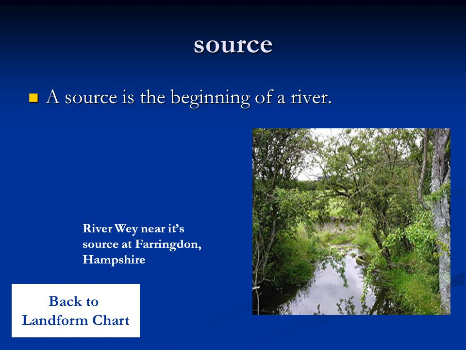 source A source is the beginning of a river. Back to Landform Chart