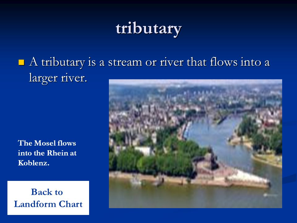 tributary A tributary is a stream or river that flows into a larger river. The Mosel flows into the Rhein at Koblenz.
