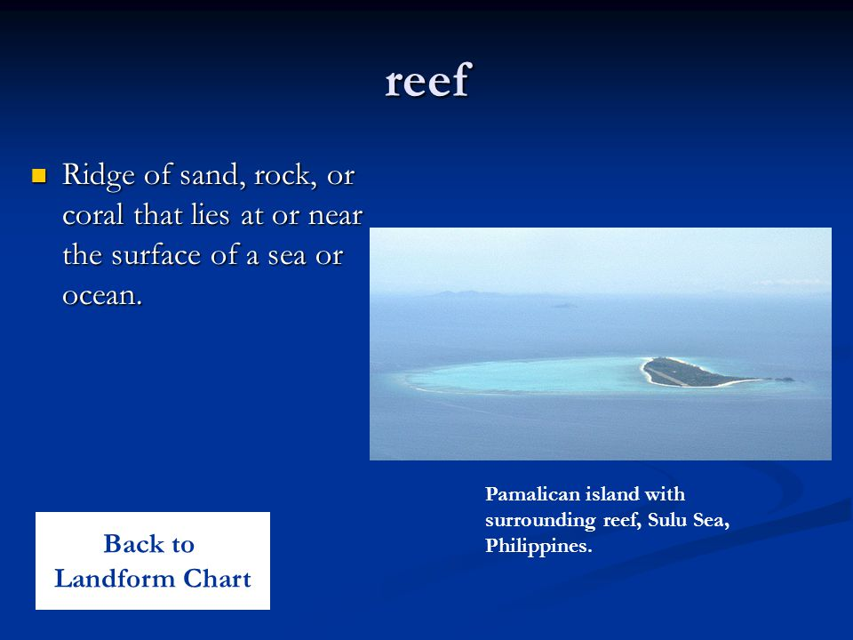 reef Ridge of sand, rock, or coral that lies at or near the surface of a sea or ocean.