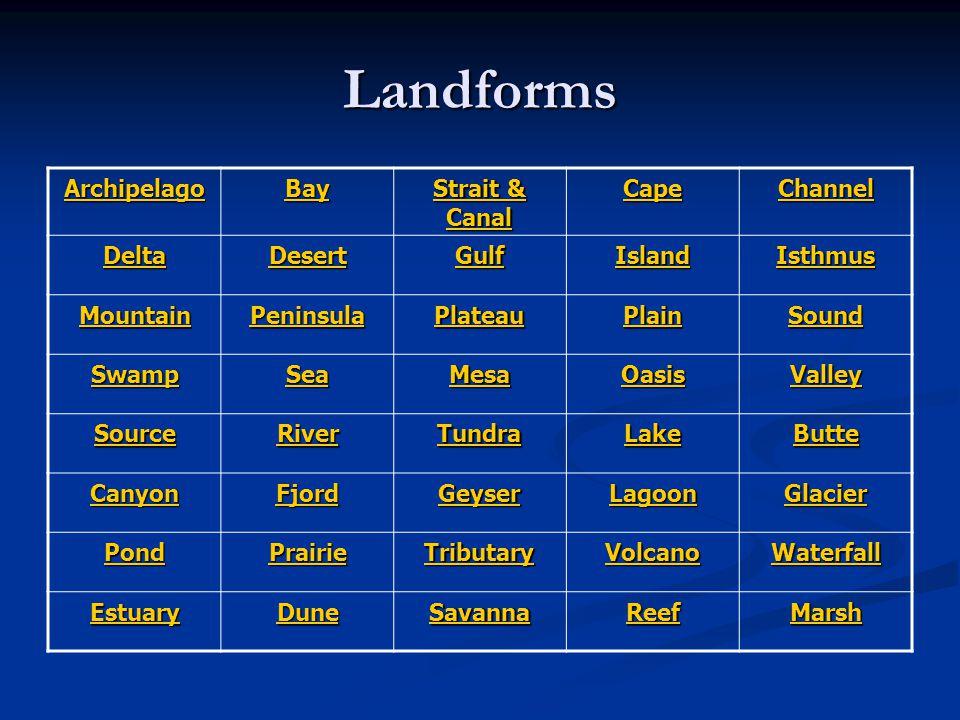 Landforms Archipelago Bay Strait & Canal Cape Channel Delta Desert