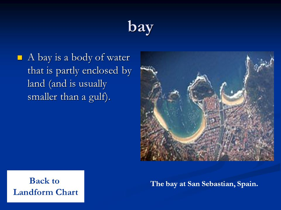 bay A bay is a body of water that is partly enclosed by land (and is usually smaller than a gulf). Back to.