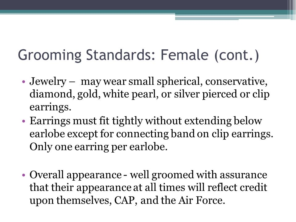 Grooming Standards: Female (cont.)