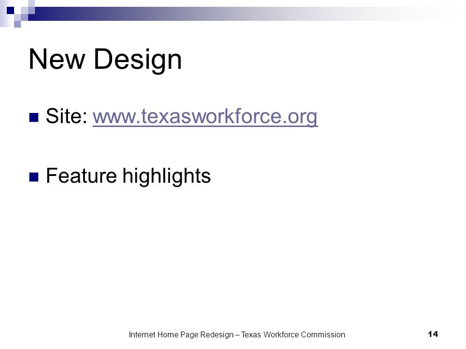 Internet Home Page Redesign – Texas Workforce Commission