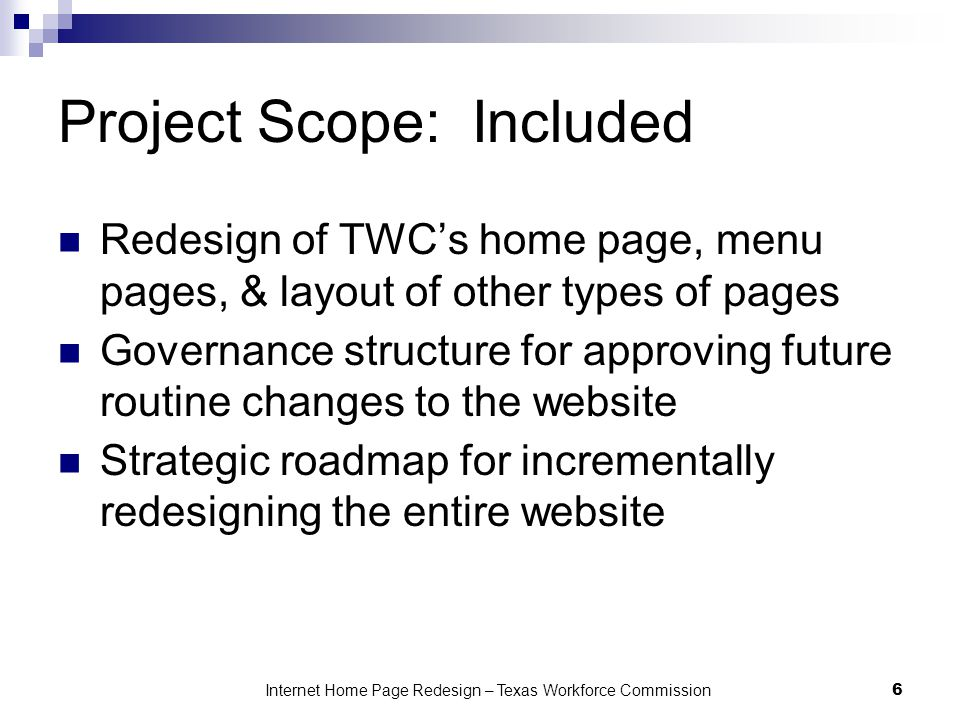 Project Scope: Included