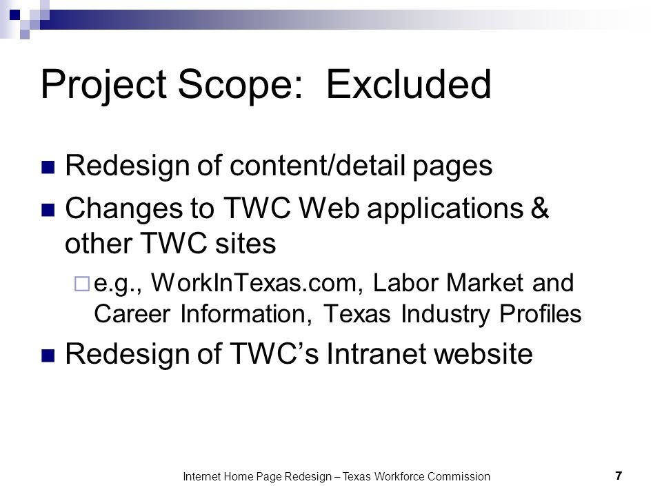Project Scope: Excluded