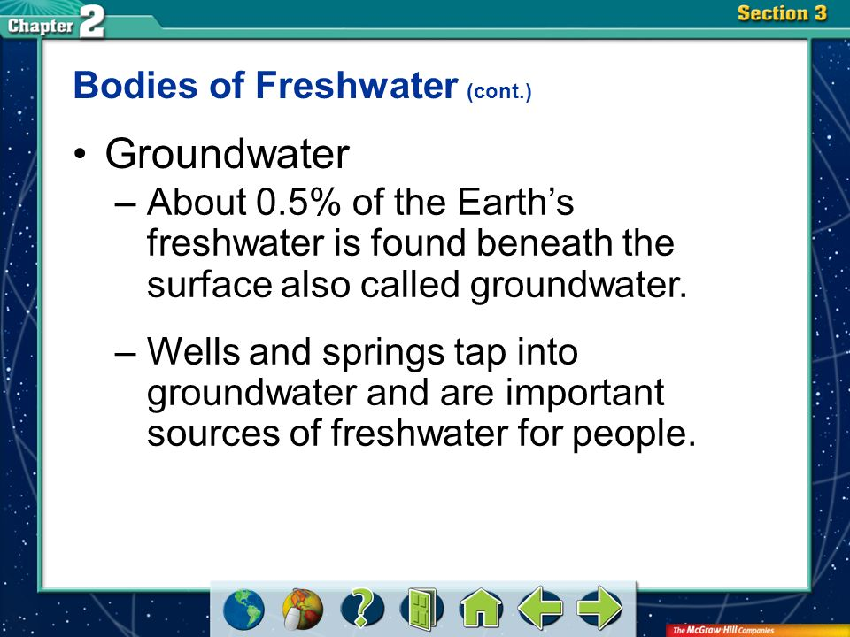 Groundwater Bodies of Freshwater (cont.)