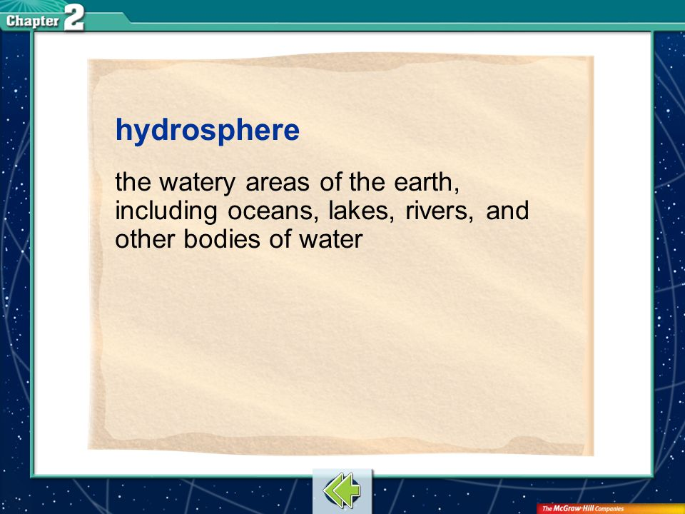 hydrosphere the watery areas of the earth, including oceans, lakes, rivers, and other bodies of water.