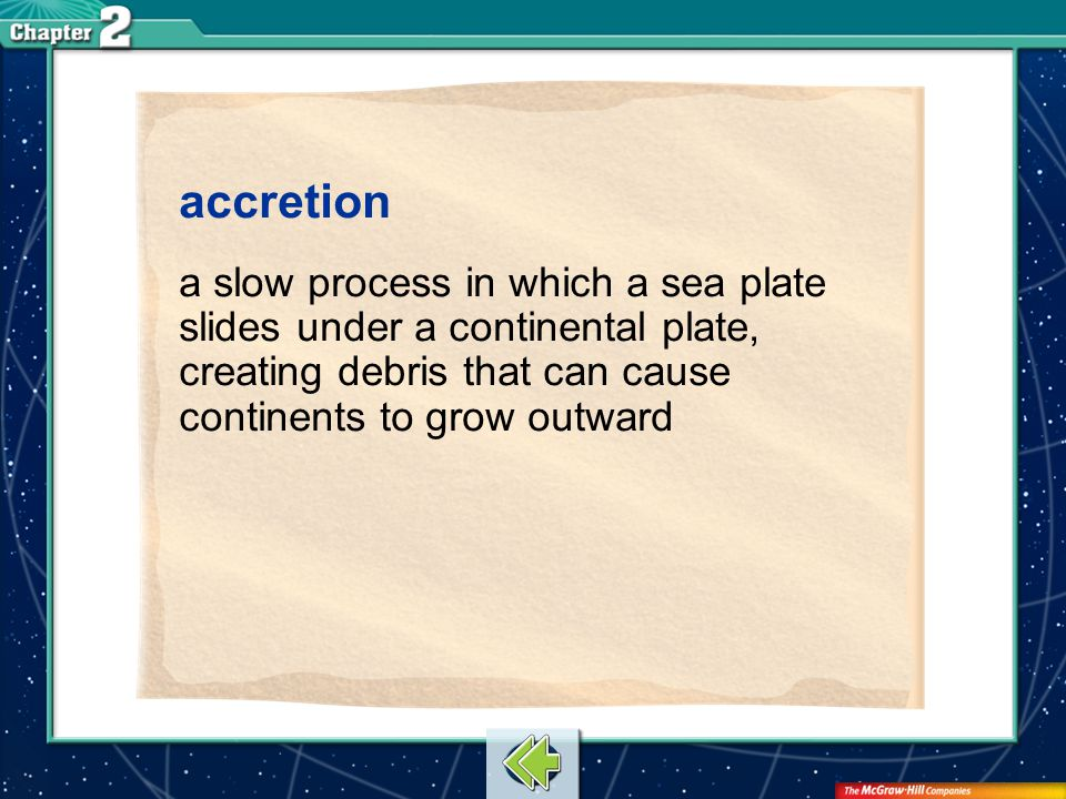 accretion a slow process in which a sea plate slides under a continental plate, creating debris that can cause continents to grow outward.