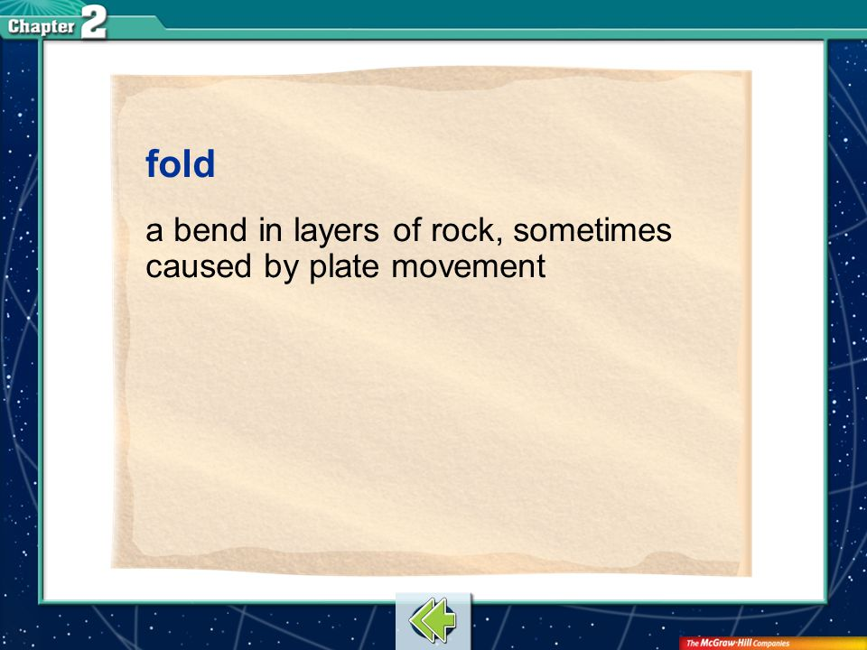 fold a bend in layers of rock, sometimes caused by plate movement
