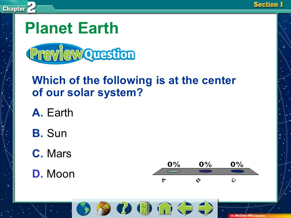 Planet Earth Which of the following is at the center of our solar system A. Earth. B. Sun. C. Mars.