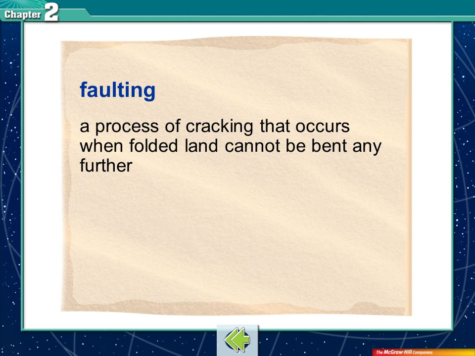 faulting a process of cracking that occurs when folded land cannot be bent any further Vocab17