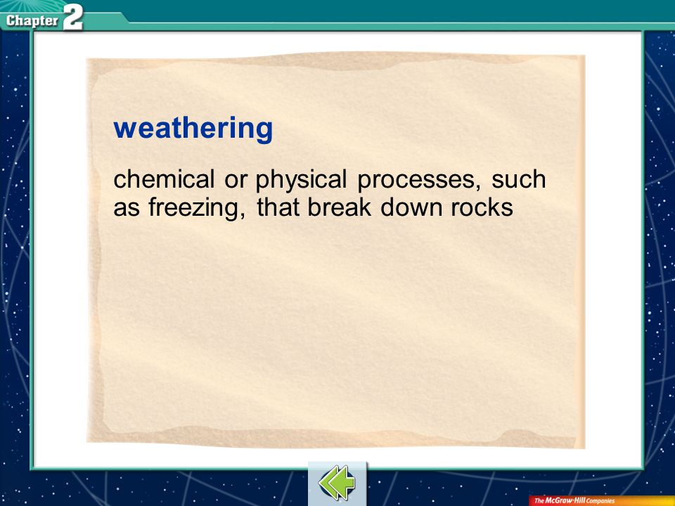 weathering chemical or physical processes, such as freezing, that break down rocks Vocab18
