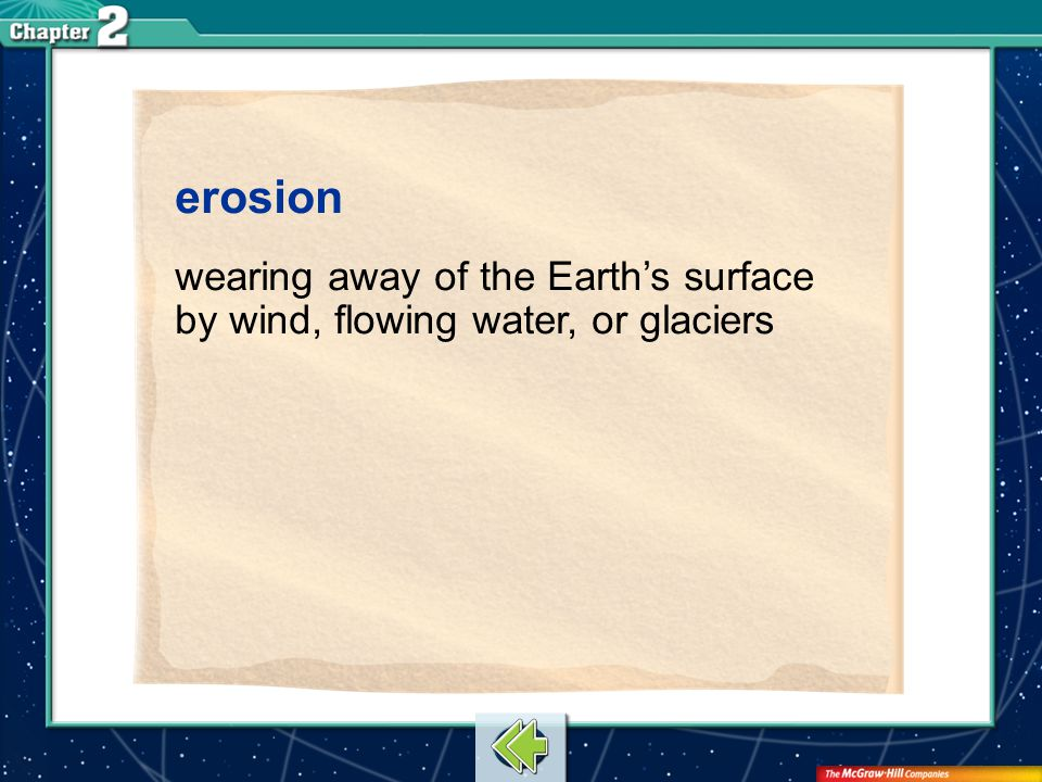 erosion wearing away of the Earth's surface by wind, flowing water, or glaciers Vocab19