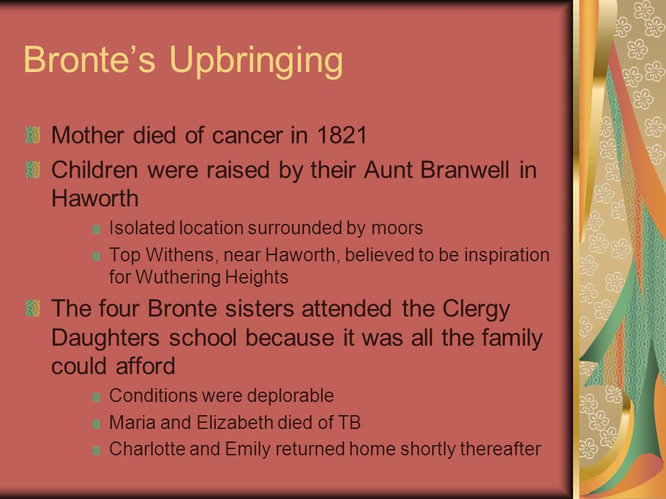 Bronte's Upbringing Mother died of cancer in 1821