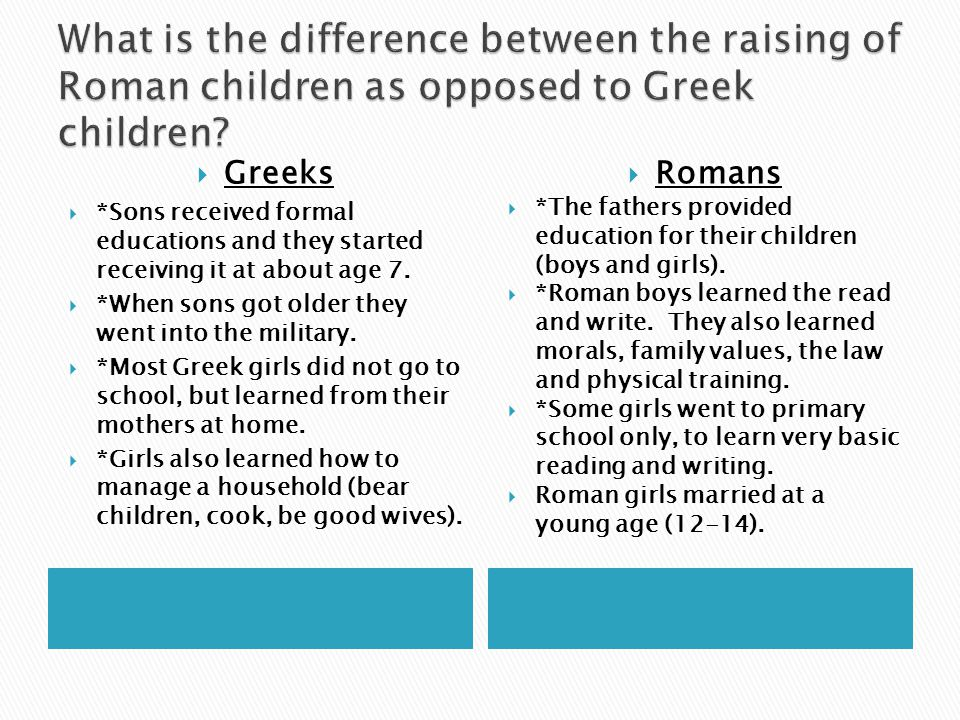 What is the difference between the raising of Roman children as opposed to Greek children
