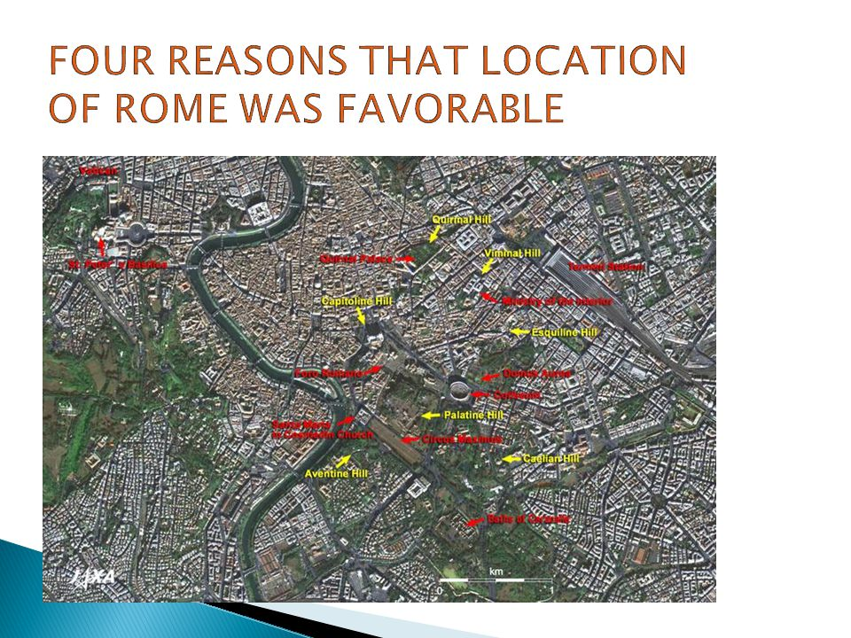 Four reasons that location of rome was favorable