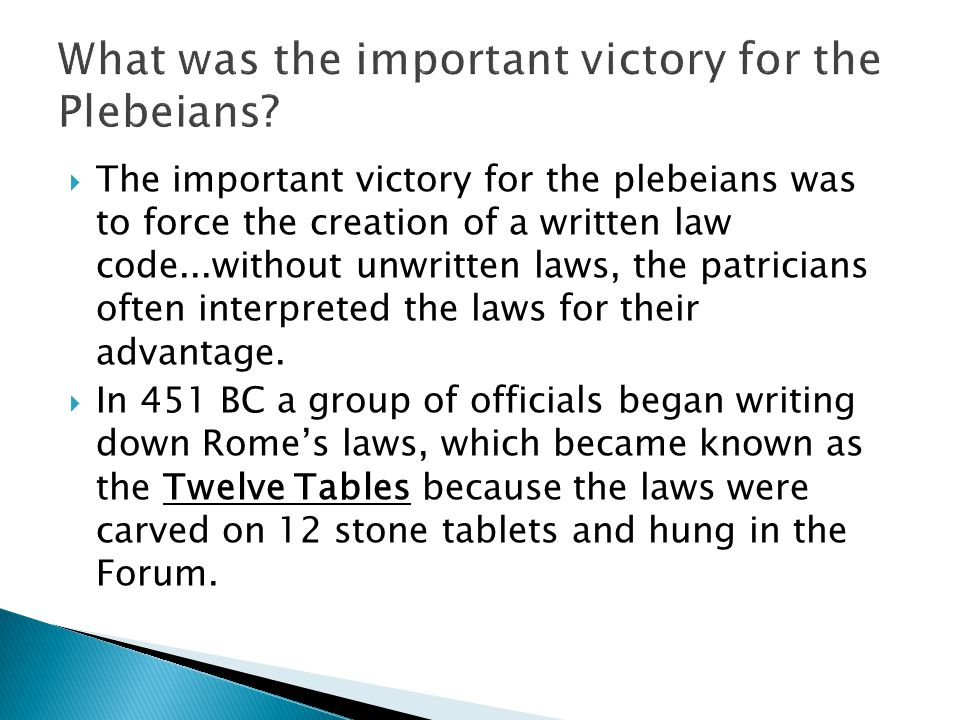 What was the important victory for the Plebeians
