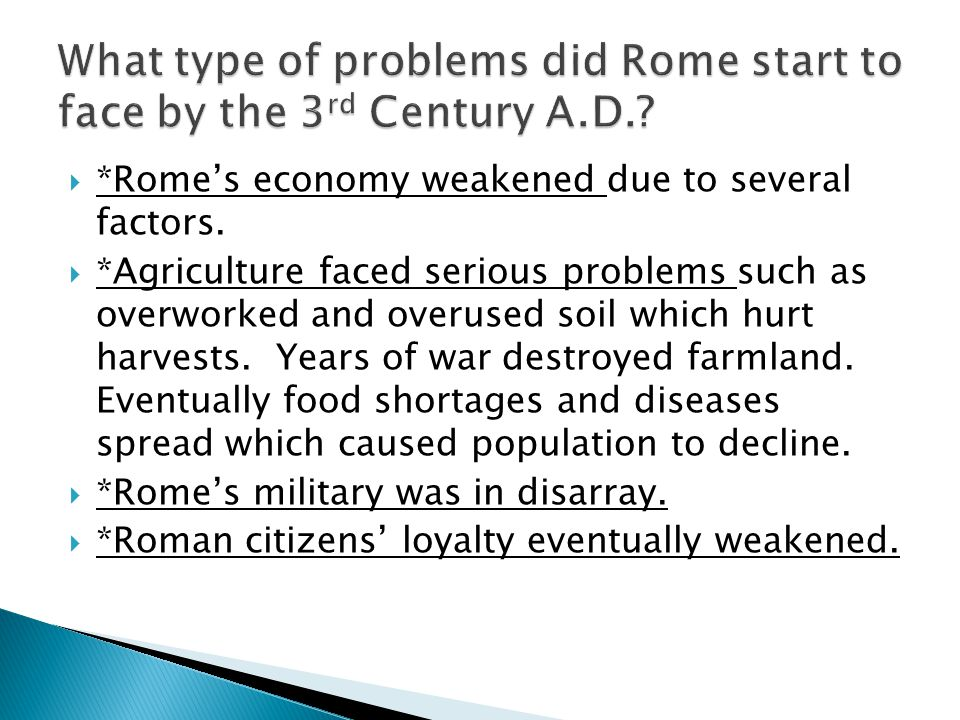 What type of problems did Rome start to face by the 3rd Century A.D.