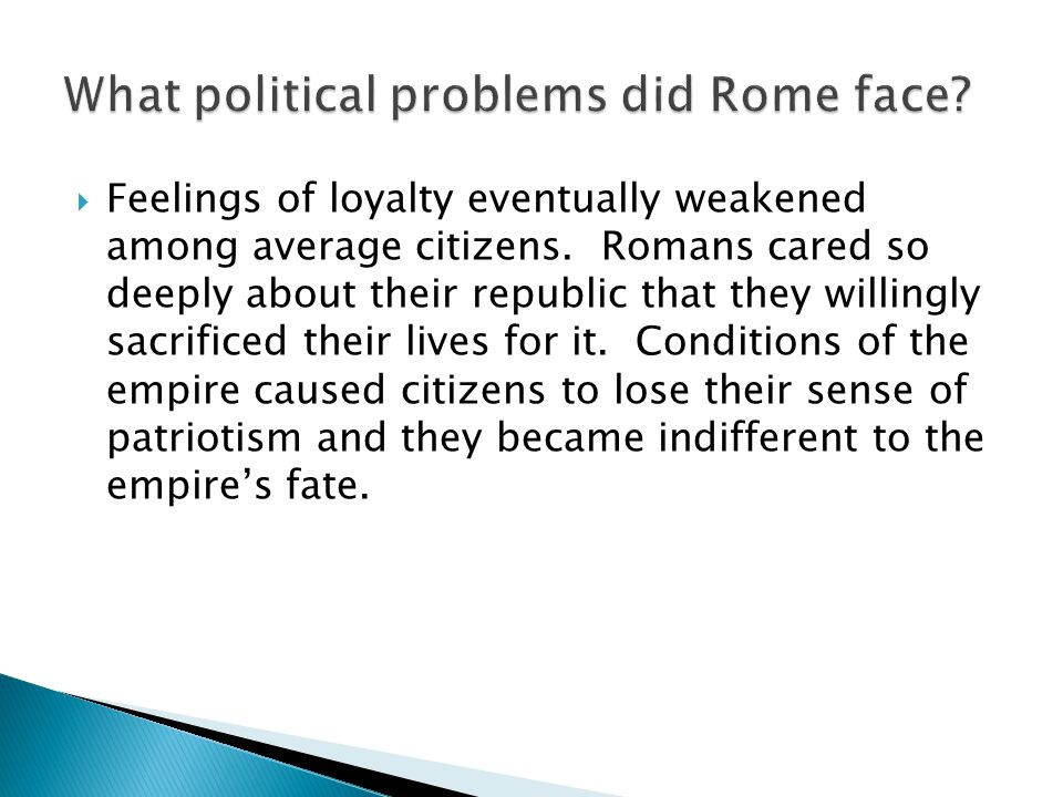 What political problems did Rome face