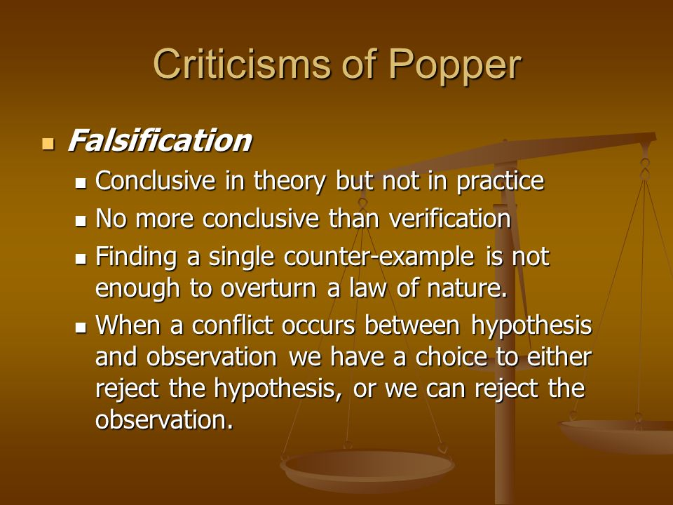 Criticisms of Popper Falsification
