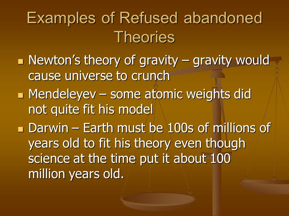 Examples of Refused abandoned Theories