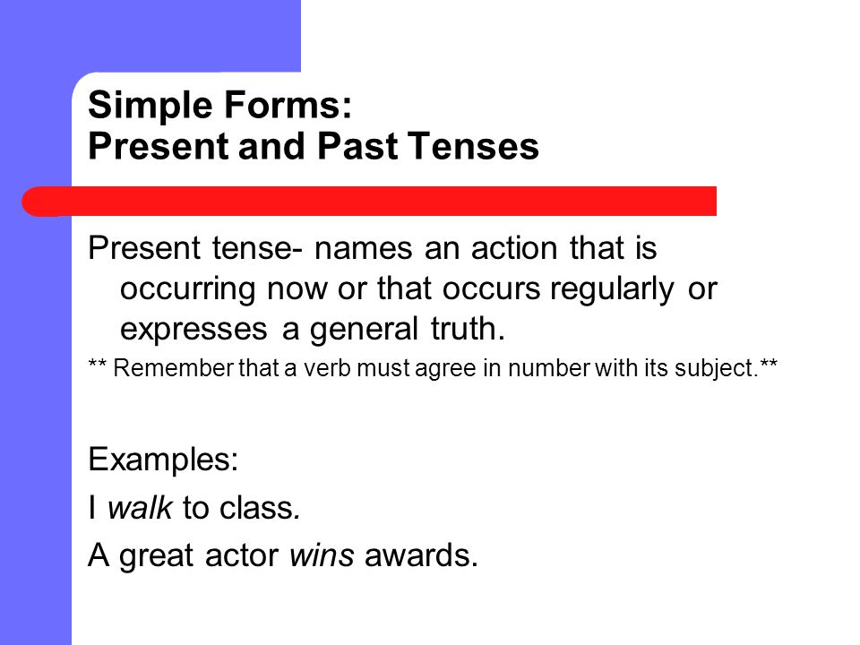 Simple Forms: Present and Past Tenses