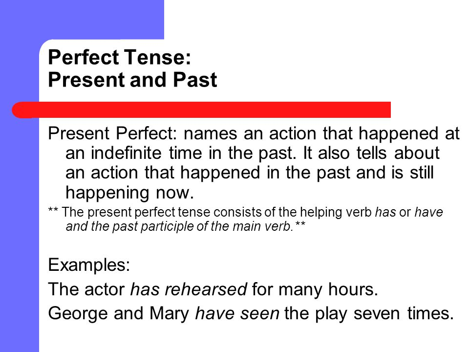 Perfect Tense: Present and Past