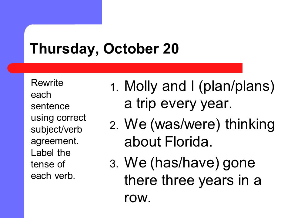 Molly and I (plan/plans) a trip every year.