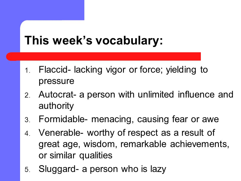 This week's vocabulary: