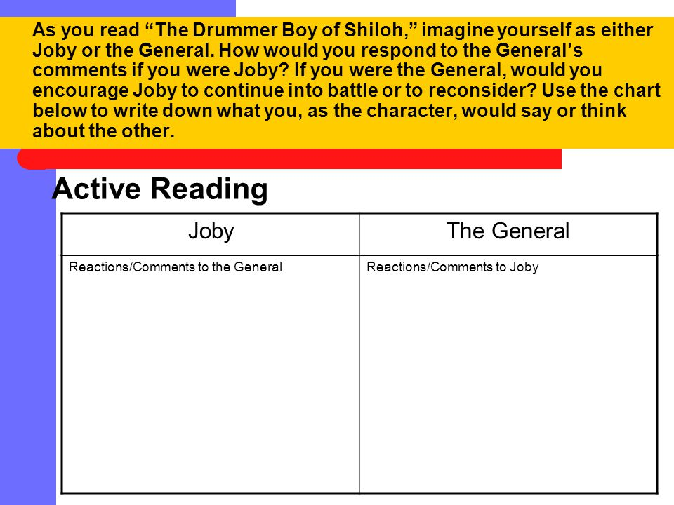 Active Reading Joby The General