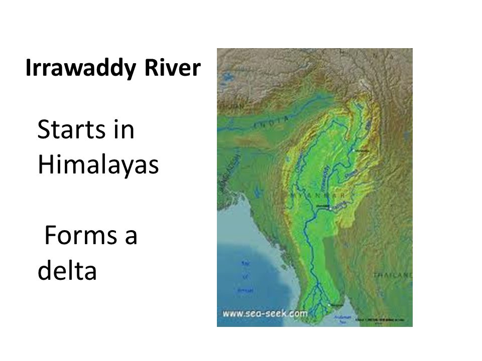 Irrawaddy River Starts in Himalayas Forms a delta
