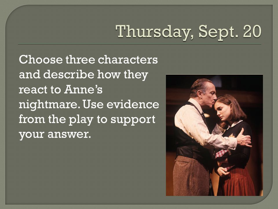 Thursday, Sept. 20 Choose three characters and describe how they react to Anne's nightmare.