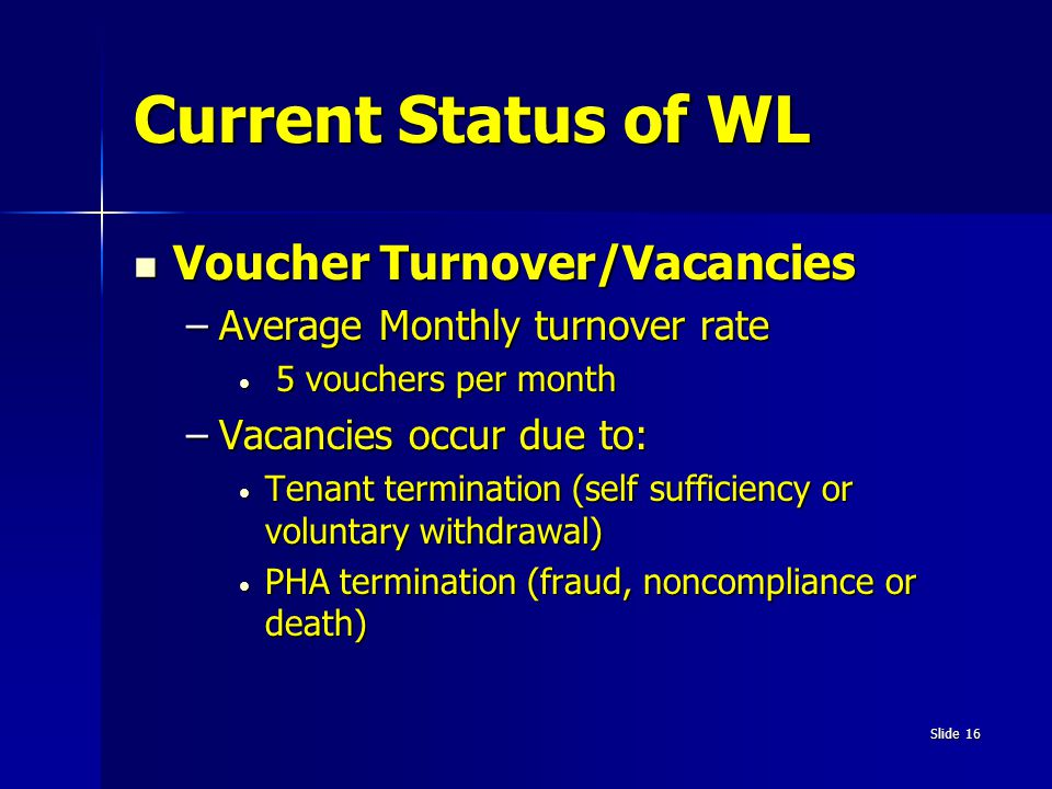 Current Status of WL Voucher Turnover/Vacancies