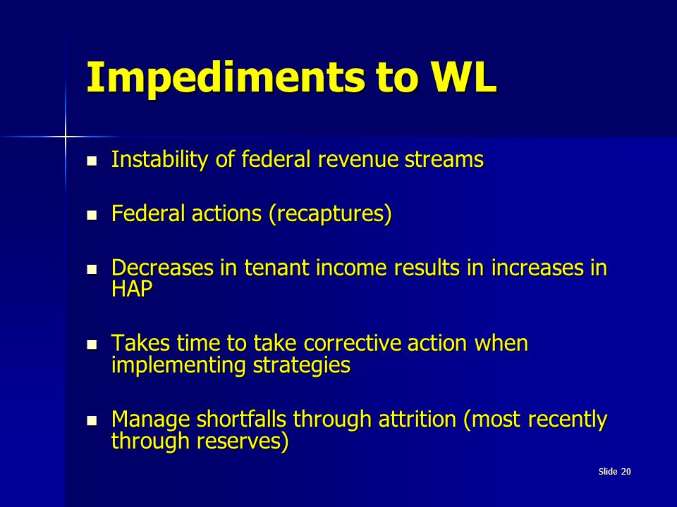 Impediments to WL Instability of federal revenue streams