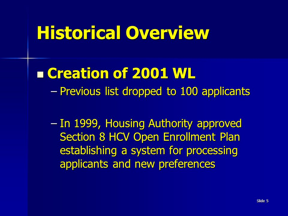 Historical Overview Creation of 2001 WL