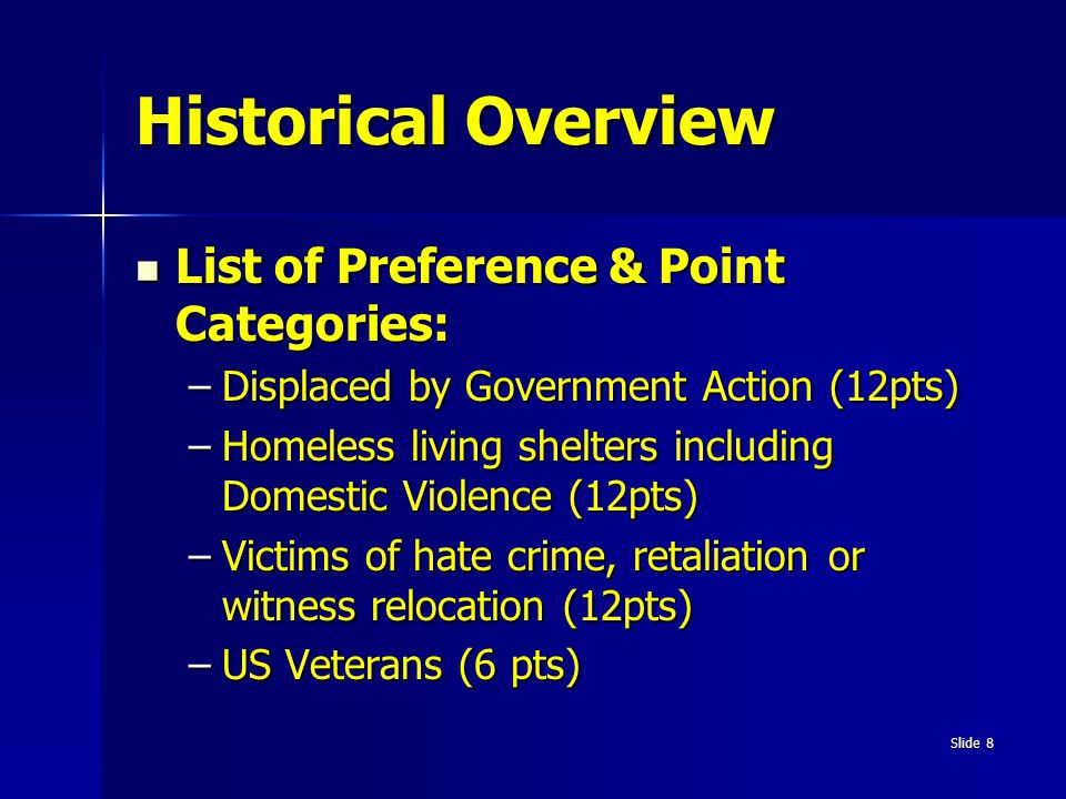 Historical Overview List of Preference & Point Categories: