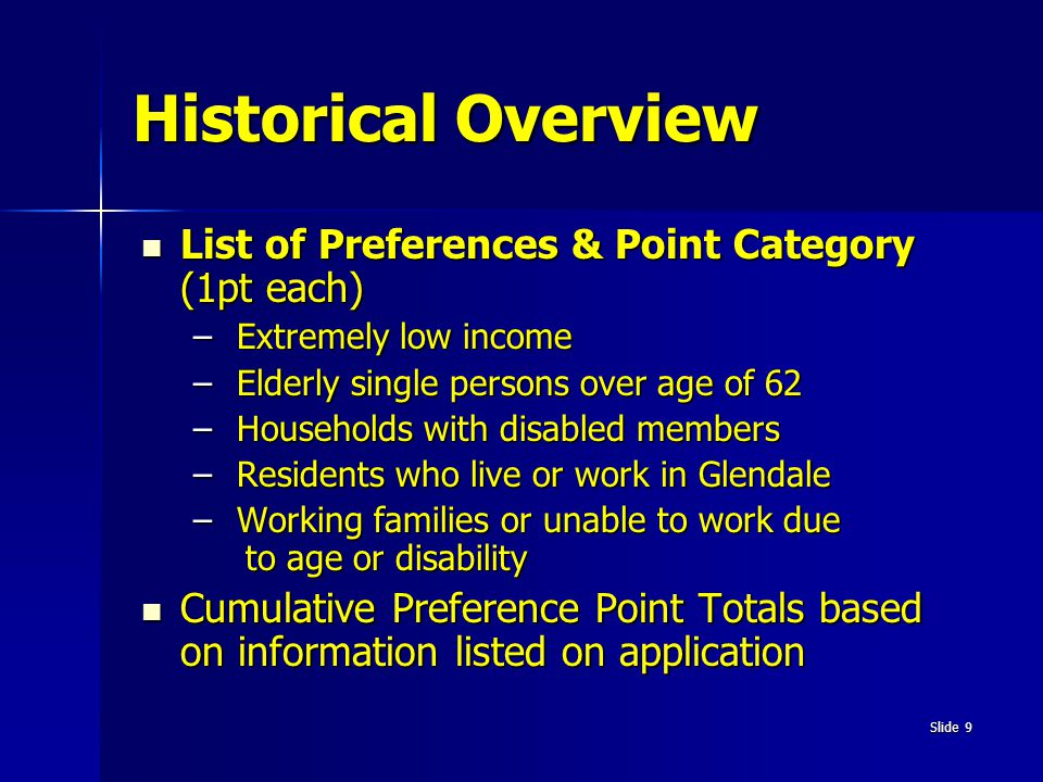 Historical Overview List of Preferences & Point Category (1pt each)