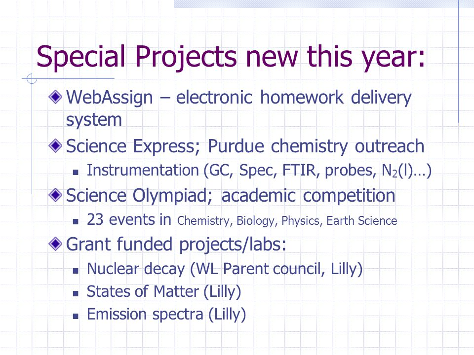 Special Projects new this year: