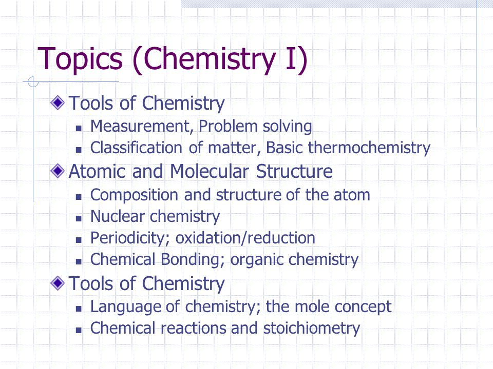 Topics (Chemistry I) Tools of Chemistry Atomic and Molecular Structure