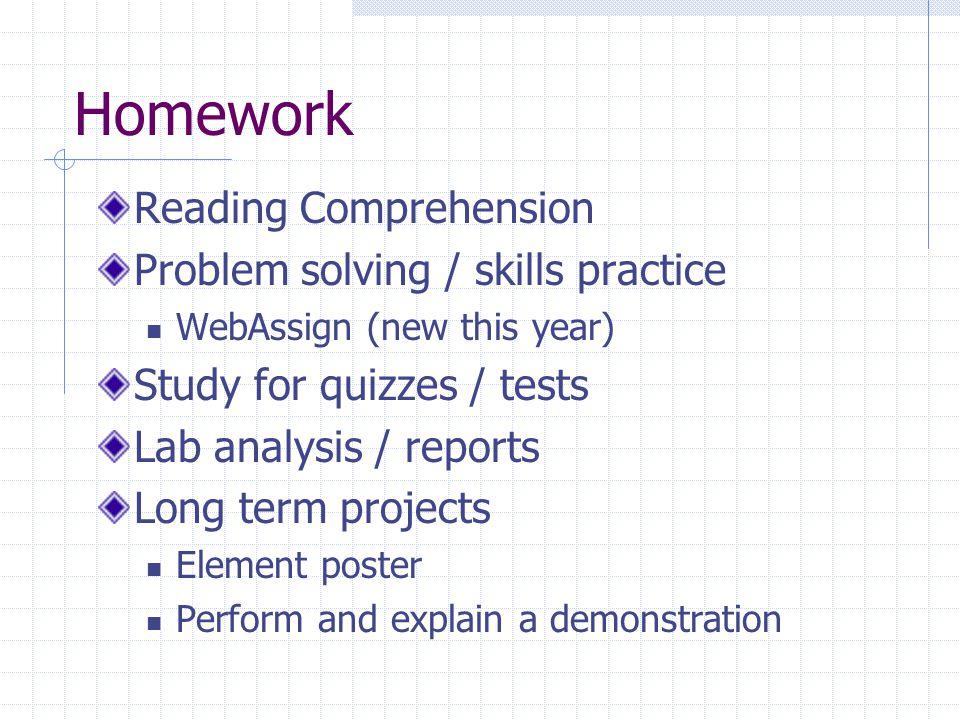 Homework Reading Comprehension Problem solving / skills practice
